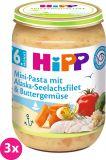3x HIPP Mini těstoviny s aljašskou treskou v máslové zelenině (6m+) 190 g