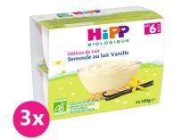 3x HiPP BIO Mléčný dezert krupicový s vanilkou Bourbon 4x100 g