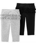 CARTER'S Kalhoty dlouhé 2 ks, černá/šedá - 3 m/vel. 62