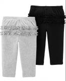 CARTER'S Kalhoty dlouhé 2 ks, černá/šedá - 6m/vel. 68