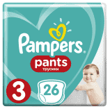 PAMPERS Pants 3, 26ks (6-11 kg) CARRY Pack - plenkové kalhotky