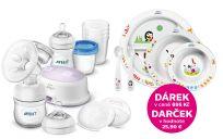 Philips AVENT Odsávačka mateřského mléka Natural elektronická – sada pro kojení + DÁREK Jídelní sada