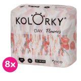 KOLORKY DAY - květy - XL (12-16 kg) - 136 ks MĚSÍČNÍ ZÁSOBA - jednorázové eko plenky