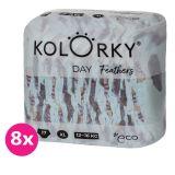 KOLORKY DAY - peří - XL (12-16 kg) - 136 ks MĚSÍČNÍ ZÁSOBA - jednorázové eko plenky