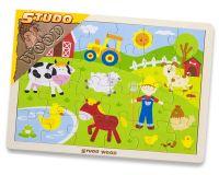 HM STUDIO Puzzle dřevěné - farma 24 dílky