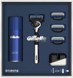 GILLETTE Dárkové Balení Fusion5 ProShield Chill Chromovaný holicí strojek + 3 Holicí hlavice