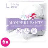 6x MONPERI Pants L (8-13 kg) 20 ks – jednorazové plienkové nohavičky