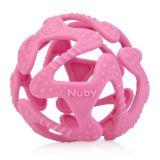 NUBY Kousátko silikonový míč růžový 3m+