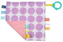 BRIGHT STARTS Dečka maznacia na C kroužku Little Taggies fialové tečky 0m+