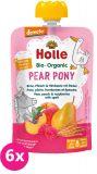 6x HOLLE Pear Pony Bio pyré hruška, broskev, maliny a špalda, 100 g (8m+)