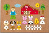 WOODY Korková deska s přibíjejícími tvary -  Zvířátka, 150 dílů