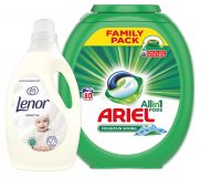 LENOR XXL Starter pack Ariel kapsle 80 ks + Lenor aviváž Sensitive 2,9 l