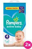 2x PAMPERS Active Baby 4 (9-14 kg) 132 ks MEGA PACK – jednorázové pleny