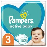 PAMPERS Active Baby 3 (6-10 kg) 152 ks MEGA PACK - jednorazové plienky