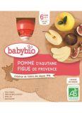 BABYBIO Jablko fík (4x 90 g) - ovocný příkrm