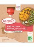 BABYBIO Kiwi mango kokos (4x 90 g) - ovocný příkrm
