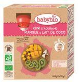 BABYBIO Pyré kiwi, mango, kokosové mlieko 4x90 g – ovocný príkrm