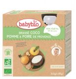 BABYBIO Svačinka s kokosovým mlékem - jablko a hruška 4x85 g