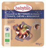 BABYBIO Řepa s rajčaty, kozím sýrem a bulgurem 190 g – zeleninový příkrm