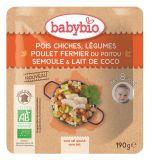 BABYBIO Cícer so zeleninou, kuracím mäsom a kokosovým mliekom 190 g - mäsovo-zeleninový príkrm