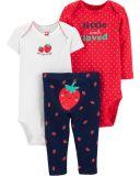CARTER'S Set 3-dílný body 2 ks, kalhoty Strawberry dívka 18m, vel. 86