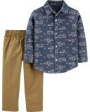 CARTER'S Set 2-dielny košeľa, nohavice Transport chlapec 9 m/vel. 74