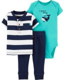 CARTER'S Set 3-dílný body, tričko kr.rukáv, kalhoty Whale chlapec LBB 6 m/vel. 68