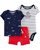 CARTER'S Set 3dílný body, tričko krátký rukáv, kalhoty krátké Sailor chlapec LBB 12 m/vel. 80