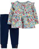 CARTER'S Set 2-dielny tričko, legíny Flowers dievča 9 m/vel. 74