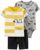 CARTER'S Set 3-dílný body kr.rukáv, tričko kr.rukáv, kalhoty krátké Construction chlapec 6 m/vel. 68