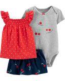 CARTER'S Set 3-dílný body kr.rukáv, tričko, sukně Fruits dívka 24 m/vel. 92