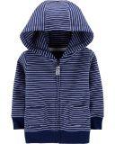 CARTER'S Mikina na zip s kapucí Strips Blue chlapec 6 m/vel. 68
