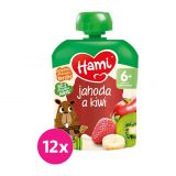 12x HAMI XXL ovocná kapsička Jahoda a kiwi 90 g, 6+