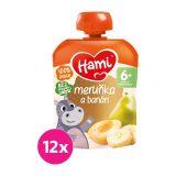 12x HAMI XXL Ovocná kapsička Marhuľa, banán a hruška (90 g)