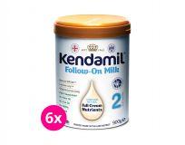 6 x KENDAMIL Pokračovací mléko 2 (900 g) DHA+