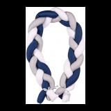BABYMATEX Mantinel do postieľky Vrkoč 200 cm biela-sivá-modrá