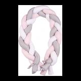 BABYMATEX Mantinel do postieľky Vrkoč 200 cm biela-sivá-ružová