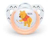 NUK Dudlík Disney - Medvídek Pú, silikon, V1 (0-6 m.) oranžový + box