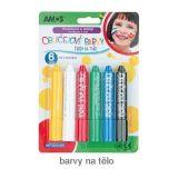 TEDDIES Farby tvárovej v ceruzke 6 ks na karte 14x20 cm karneval