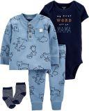 CARTER'S Set 4dílný body, tričko, kalhoty, ponožky chlapec NB