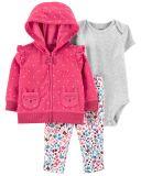 CARTER'S Set 3dílný body krátký rukáv, mikina, kalhoty dlouhé Pink Dot dívka 9 m/vel. 74
