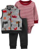 CARTER'S Set 3dílný vesta, body, kalhoty chlapec Dino 24 m