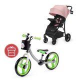KINDERKRAFT Kočárek sportovní Cruiser Pink + Dětské odrážedlo 2way Next Green/Gray