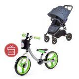VALCO SNAP 4 Kočárek Tailor Made Sport, denim + Dětské odrážedlo 2way Next Green/Gray