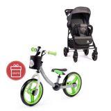 PETITE&MARS Kočárek sportovní Easy Carbon Grey 2020 + Dětské odrážedlo 2way Next Green/Gray