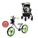 PETITE&MARS Kočárek sportovní Easy Iron Green 2020 + Dětské odrážedlo 2way Next Green/Gray