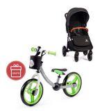 PETITE&MARS Kočárek sportovní Move Carbon Grey 2020 + Dětské odrážedlo 2way Next Green/Gray