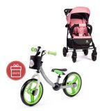 PETITE&MARS Kočárek sportovní Easy Rose Pink 2020 + Dětské odrážedlo 2way Next Green/Gray