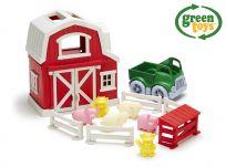 GREEN TOYS Farma s domčekom, autíčkom a zvieratkami