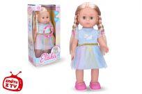 WIKY Eliška chodiace bábika 41 cm, modré šaty